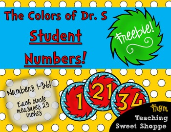 The Colors of Dr. S!  Student Numbers FREEBIE!