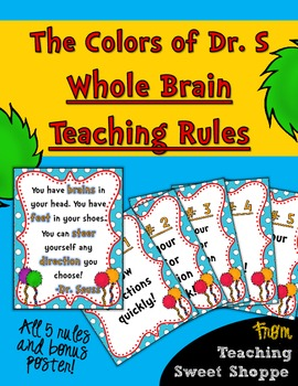 The Colors of Dr. S!  Whole Brain Teaching Rules with Bonus Poster