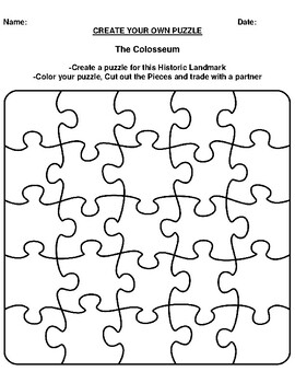 The Colosseum Create your Own Puzzle Worksheet
