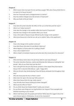 The Colour of Sunshine- David Metzenthen - Chapter Questions