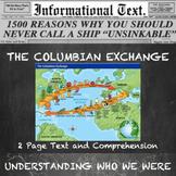 The Columbian Exchange--Informational Text Worksheet