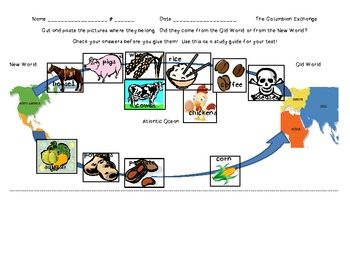 The Columbian Exchange Cut and Paste Activity