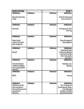 The Columbian Exchange Vocabulary Foldable: Studies Weekly 7