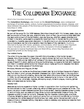 the columbian exchange wor by giovanni pena teachers pay teachers. Black Bedroom Furniture Sets. Home Design Ideas