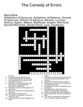 The Comedy of Errors Crossword