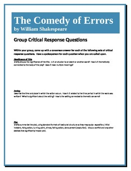 The Comedy of Errors - Shakespeare - Group Critical Response Questions