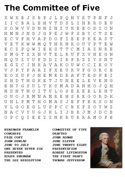 The Committee of Five Word Search