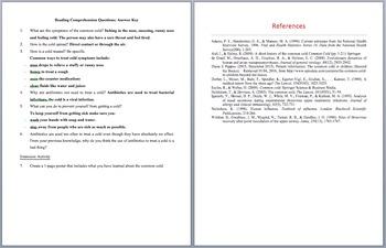 The Common Cold - Scientific Reading Comprehension Article – Grades 5-7