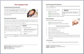 The Common Cold - Scientific Reading Comprehension Article – Grades 5-7