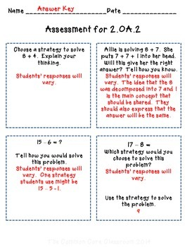 The Common Core Classroom Guide to 2.OA.2: Add & Subtract within 20: 2nd Grade