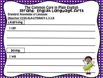 Common Core in Plain English: ELA Strand for 3rd Grade