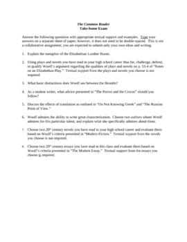 The Common Reader Exam