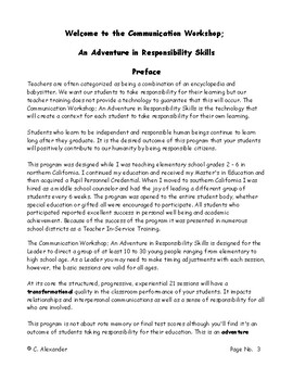 The Communication Workshop; An Adventure in Responsibility Skills