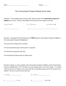 The Commutative Property Needs Some Order