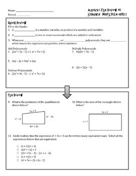 The Complete Algebra 1 EOC Preparation Package