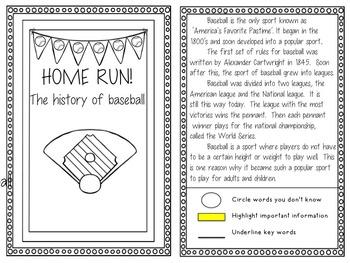 Play Ball! A Close Reading Baseball Unit