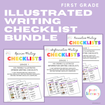 The Complete First Grade Writing Illustrated Checklist Bundle