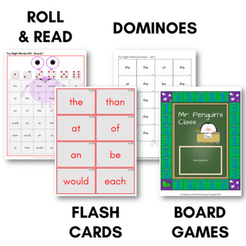 Fry Sight Words Super Game Pack - Bingo, Dominoes, Board Games, and More!