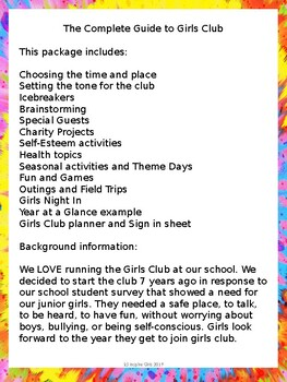 The Complete Guide to Girls Club - Back to School- Start a Girls Club!
