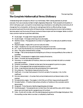 The Complete Mathematical Terms Dictionary