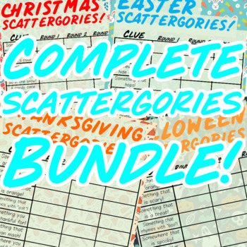 The Complete Scattergories Bundle! (Christmas, Halloween, Valentines + 5 More!)
