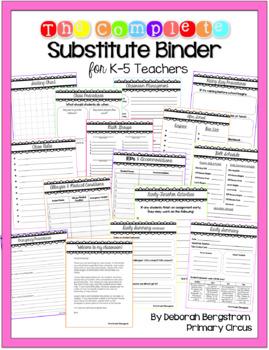 The Complete *EDITABLE* Substitute Teacher Binder for Elem