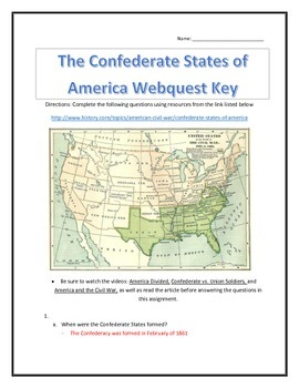 The Confederate States of America- Webquest and Video Analysis with Key