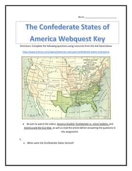 The Confederate States of America- Webquest and Video Anal