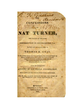 The Confessions of Nat Turner - a historical document