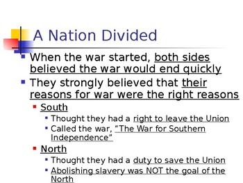 The Civil War - The Conflict Takes Shape PowerPoint