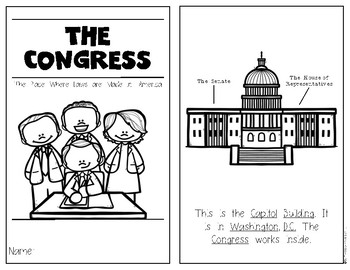 Congress {American Government Reader} for Kindergarten & First Social Studies