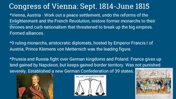 The Congress of Vienna and Revolutions