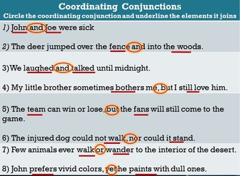 The Conjunctions PowerPoint and WS Bundle