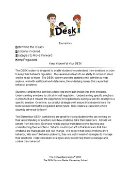 The DESK System Starter-Teach Emotional Regulation for Elementary School