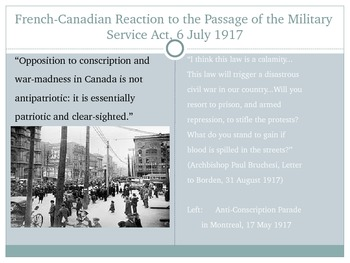 The Conscription Crisis in World War I PowerPoint
