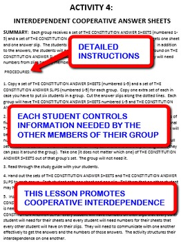 The Constitution: Interdependent Answer Sheets Activity