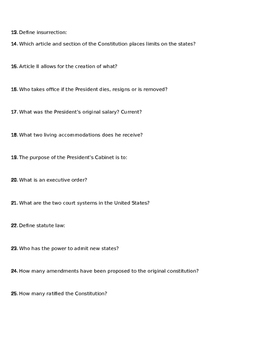 The Constitution Breakdown Questions