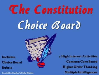 The Constitution Choice Board Social Studies Activity Menu Project Rubric