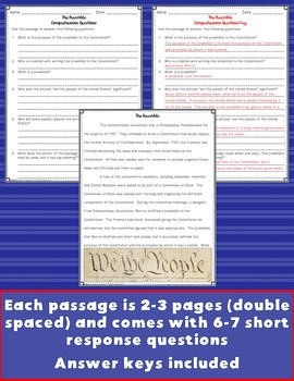 The Constitution Close Reading Passages {Digital & PDF Included}