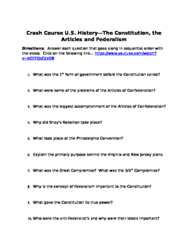 The Constitution--Crash Course US History Video Guide
