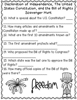 The Constitution, Declaration of Independence and Bill of Rights Scavenger Hunt