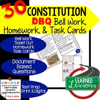 The Constitution Document Based Questions Bellringers Ticket Out Google Digital