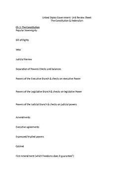 The Constitution & Federalism (US Gov't Unit Test with Study Guide & Answers)
