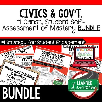 The Constitution I Cans & Posters, Self-Assessment of Mastery, CIVICS