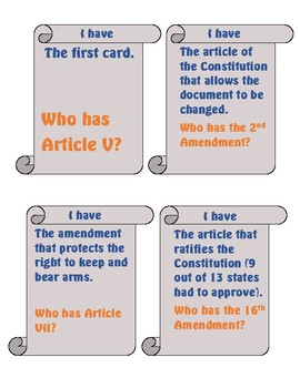 The Constitution I Have Who Has