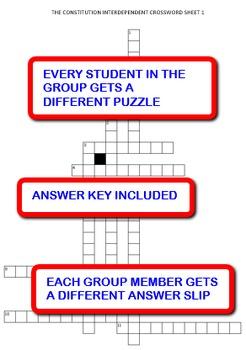 The Constitution: Interdependent Crossword Puzzles Activity