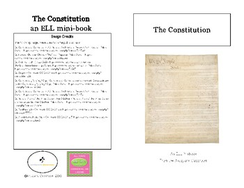 The Constitution Minibook for ELL Students