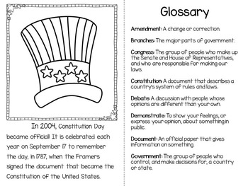 Constitution Day: Original Book, Glossary, and Comprehension Activities