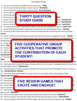 The Constitution:  Study Guide and Activity Pack