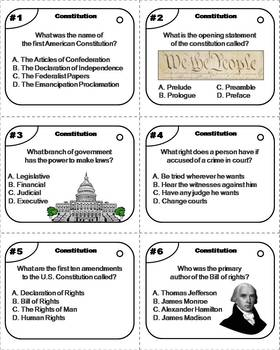 The Constitution Task Cards (American Government Unit)